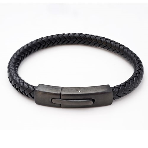 Matt black IP coated steel on a chunky weave black leather bracelet